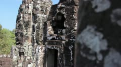Ancient Temple (Angkor) - Pan Around Bayon Stock Footage