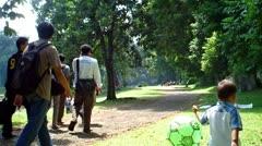 People Walking in the Bogor Botanical Garden Stock Footage