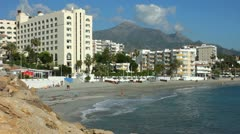 Hotels on the seafront at Nerja Costa Del Sol Spain Stock Footage