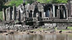 Angkor Wat - Closer Shot Slow pan along wall of Angkor Thom Stock Footage