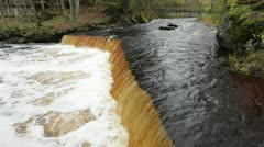 Waterfall at autumn - stock footage