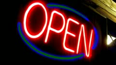 Neon Open Sign Slow Zoom - stock footage