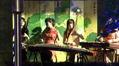 Traditional playing chinese instrument guzheng 1 Stock Footage