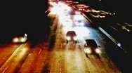 Night Traffic On 405 Freeway Coming Straight On Stock Footage