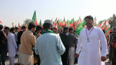 People lining up for PTI Rally in Karachi, Pakistan Stock Footage