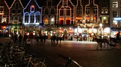 Horse-drawn carriage in Bruges' streets at night3 Stock Footage