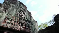 Ancient Temple (Angkor) - Detail Angkorian lintel Stock Footage