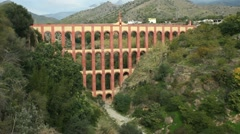 Aquila bridge aqueduct in Maro on the Costa Del Sol Stock Footage
