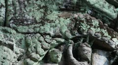 Ancient Temple (Angkor) - ECU Angkor lintel detail Stock Footage
