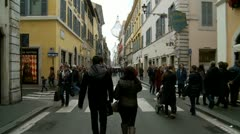 Young couple go shopping (glidecam) Stock Footage