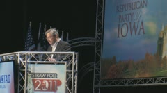 Stock Video Footage of Stock Footage - 2011 Presidential candidates at Iowa Straw Poll on Stage