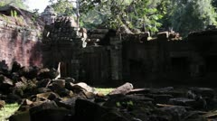 Ancient Temple (Angkor) - Slow pan across temple yard III - stock footage