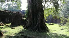 Ancient Temple (Angkor) - Slow Pan across temple yard II Stock Footage