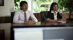 Young business people talking during job interview - stock footage