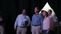 Stock Footage - Rick and Karen Santorum wait to go on stage - Straw Poll 2011 - stock footage