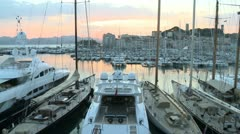 Cannes Harbor (Sunset) Stock Footage