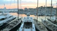 Stock Video Footage of Cannes Harbor (Sunset)