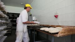 Bakery bread hand making - stock footage