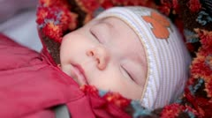 Baby sleeps in the baby carriage Stock Footage
