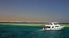 Boat near the reef Stock Footage