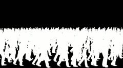 Crowd silhouettes walking Transition, camera fly over Stock Footage