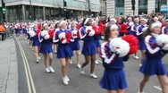 Cheerleaders at London Parade Stock Footage