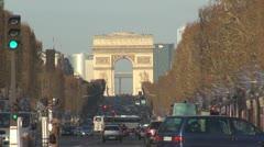 Amazing Arc de Triomphe in Paris traffic car boulevard tourism passing road city Stock Footage