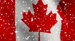 Canada snow fallin flag for weather report footage Stock Footage