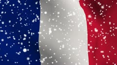 France snow fallin flag for weather report footage Stock Footage