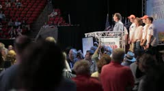 Stock Footage - Rick Santorum on stage with family - Iowa Straw Poll 2011 - stock footage