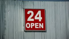 Open Twenty Four Sign Stock Footage