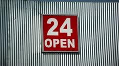 Open Twenty Four Sign - stock footage