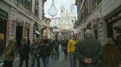 Glidecam xmas shopping to Spanish Steps in Rome Stock Footage