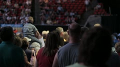Stock Footage - Rick Santorum Supporters at Iowa Straw Poll - Child on Shoulders - stock footage