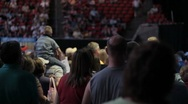 Stock Footage - Rick Santorum Supporters at Iowa Straw Poll - Child on Shoulders Stock Footage