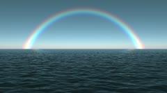 Ocean Dawn Rainbow Scene Seamlessly Looping HD Stock Footage