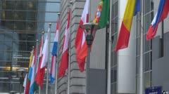 Flags at European Parliament Brussels Belgium capital institution politic  Stock Footage