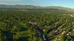 Boise, Idaho aerial downtown in distance Stock Footage