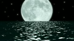 Ocean Night Large Moon Fantasy Scene Seamlessly Looping HD Stock Footage