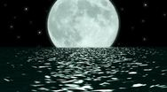 Stock Video Footage of Ocean Night Large Moon Fantasy Scene Seamlessly Looping HD