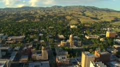 Aerial Boise, Idaho Capitol building with foothills Stock Footage