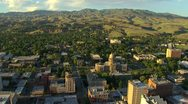 Stock Video Footage of Aerial Boise, Idaho Capitol building with foothills