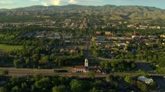 Aerial Boise depot with downtown in background Stock Footage