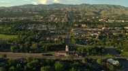Stock Video Footage of Aerial Boise depot with downtown in background