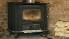 Wood burning stove Stock Footage