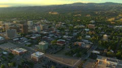 Aerial of Boise, Idaho downtown at sunset - stock footage