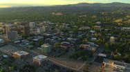 Stock Video Footage of Aerial of Boise, Idaho downtown at sunset