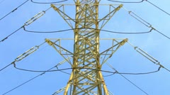 High Voltage Electricity Tower Transmission Cables - stock footage