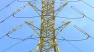 Stock Video Footage of High Voltage Electricity Tower Transmission Cables