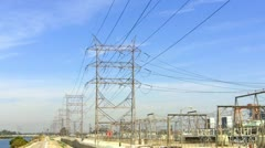 High Voltage Electricity Towers And Wires - stock footage